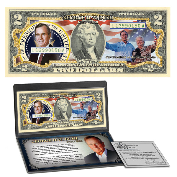 George H.W.  Bush Colorized $2 Bill