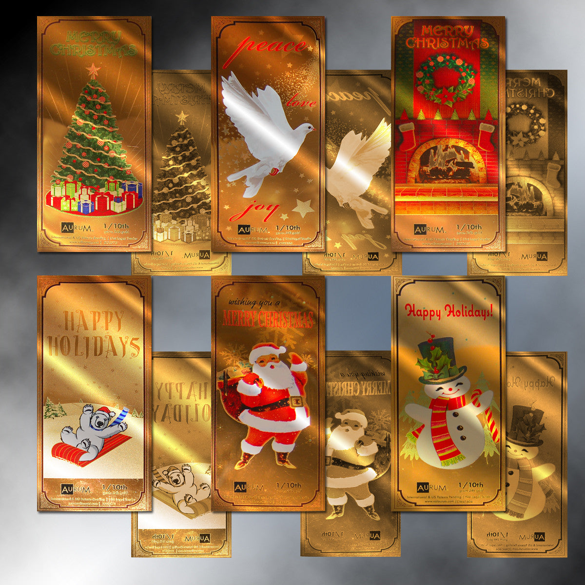 Set of 6 Holiday 1/10th Gram 24K Gold Aurum Notes