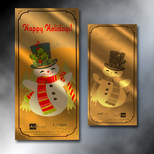 """Happy Holidays"" Snowman 1/10th Gram 24K Gold Aurum Note"