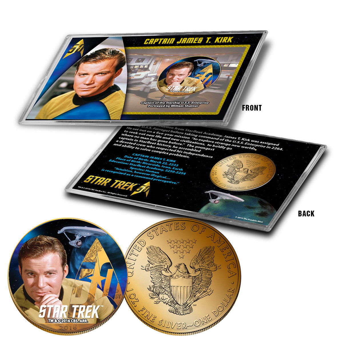"""Star Trek"" Capt. Kirk 24K Gold Plated Colorized Silver Eagle"
