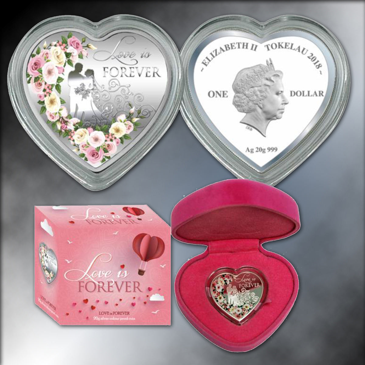 "2018 Colorized ""Love is Forever"" Heart-Shaped $1 Silver Coin"
