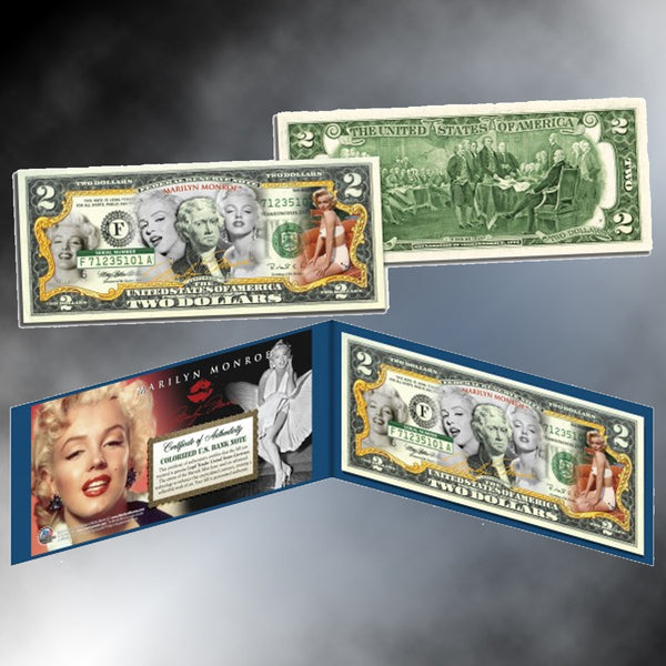 Marilyn Monroe Colorized $2 Bill