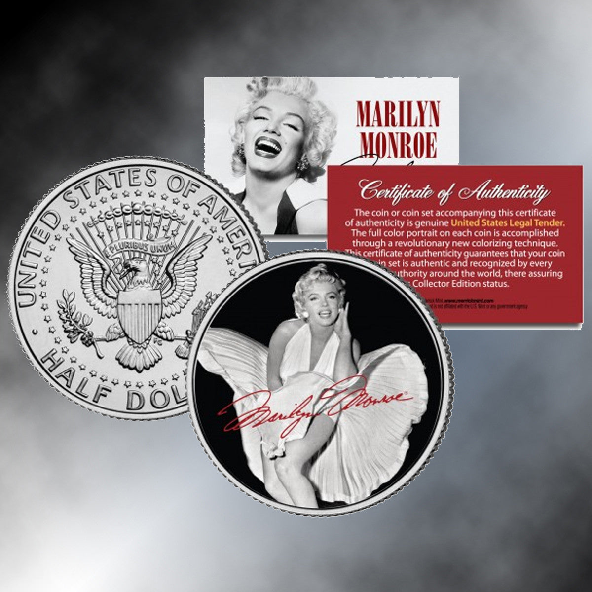 "Marilyn Monroe ""The Seven Year Itch""  Colorized JFK Half Dollar"