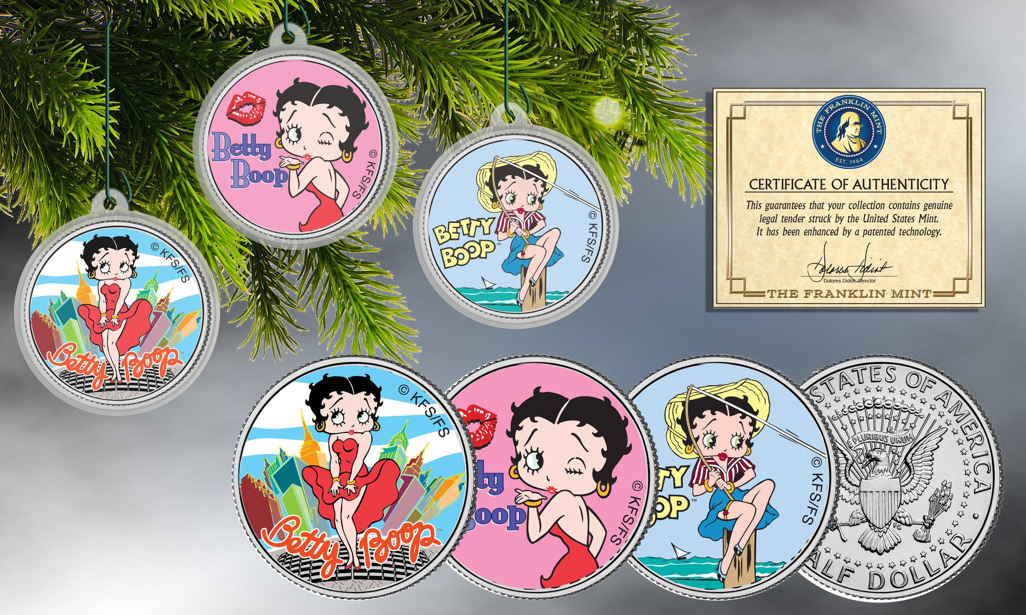 Betty Boop Colorized JFK Half Dollar Ornaments