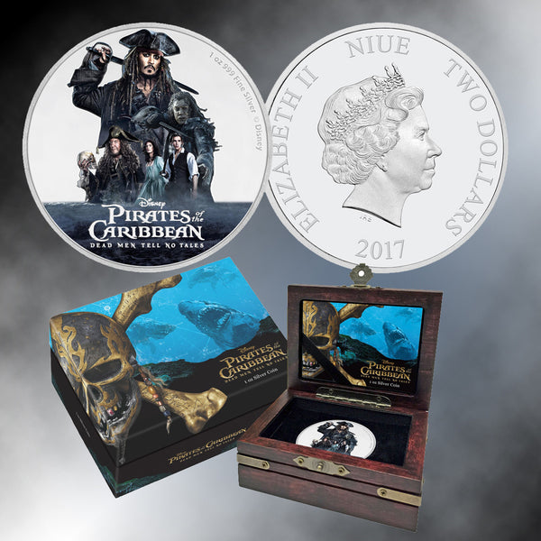 "2017 Disney ""Pirates of the Caribbean: Dead Men Tell No Tales"" Niue Colorized $2 Silver Coin"