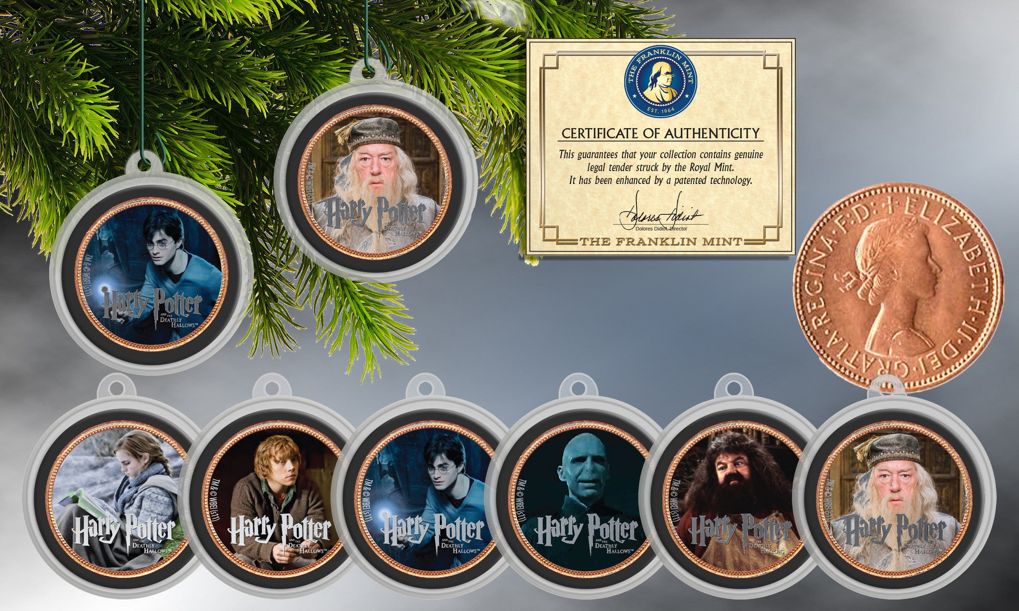 Harry Potter Colorized British Half Penny Ornaments