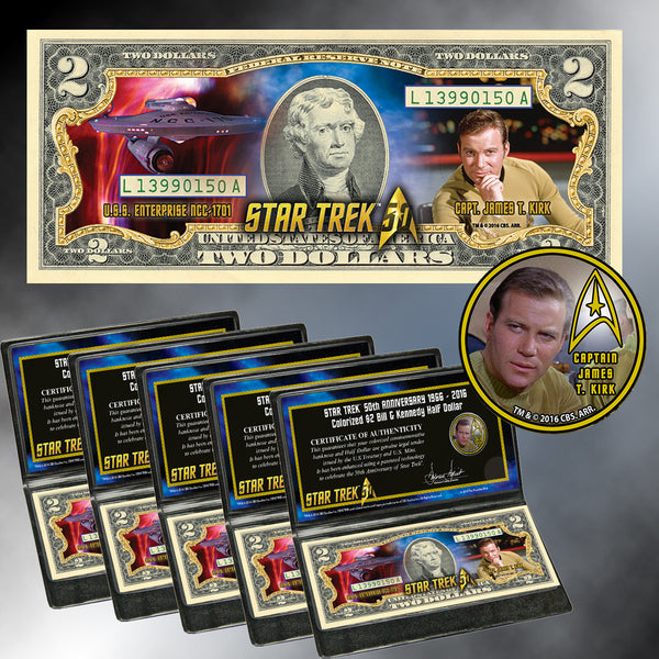 """Star Trek"" Capt. Kirk Coin & Currency Collection Buy 5 and Save $10"