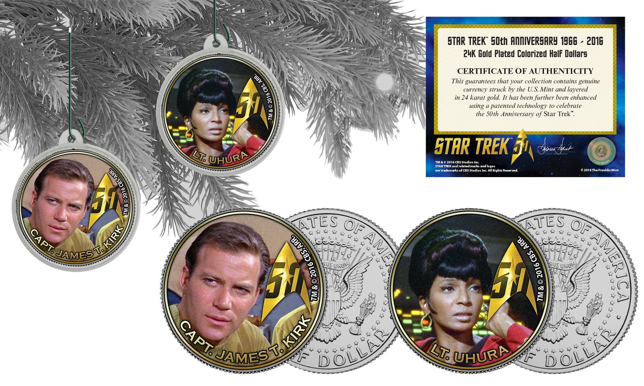 Star Trek Christmas Tree Trimmers | Franklin Mint Coins