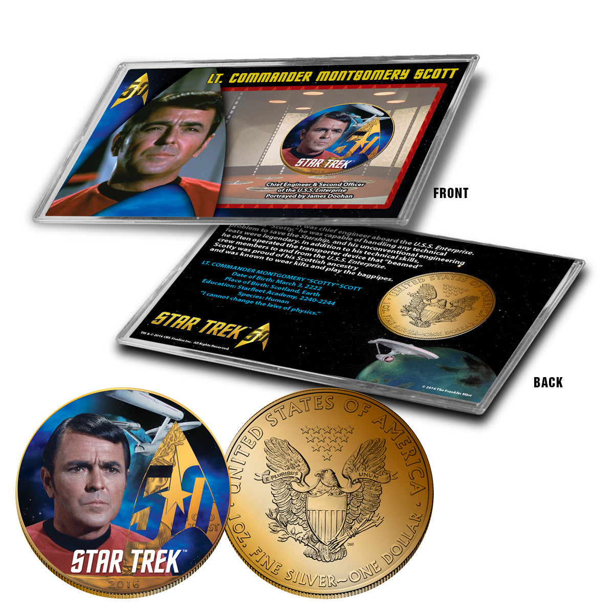 """Star Trek"" Scotty 24K Gold Plated Colorized Silver Eagle"