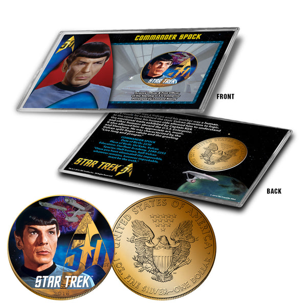 """Star Trek"" Spock 24K Gold Plated Colorized Silver Eagle"