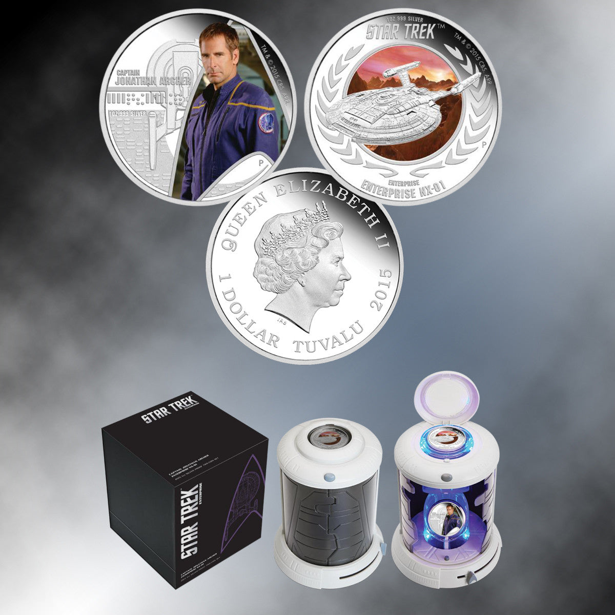 "2015 ""Star Trek: Enterprise"" Proof Capt. Archer and U.S.S. Enterprise NX-1 Silver Coin Set"