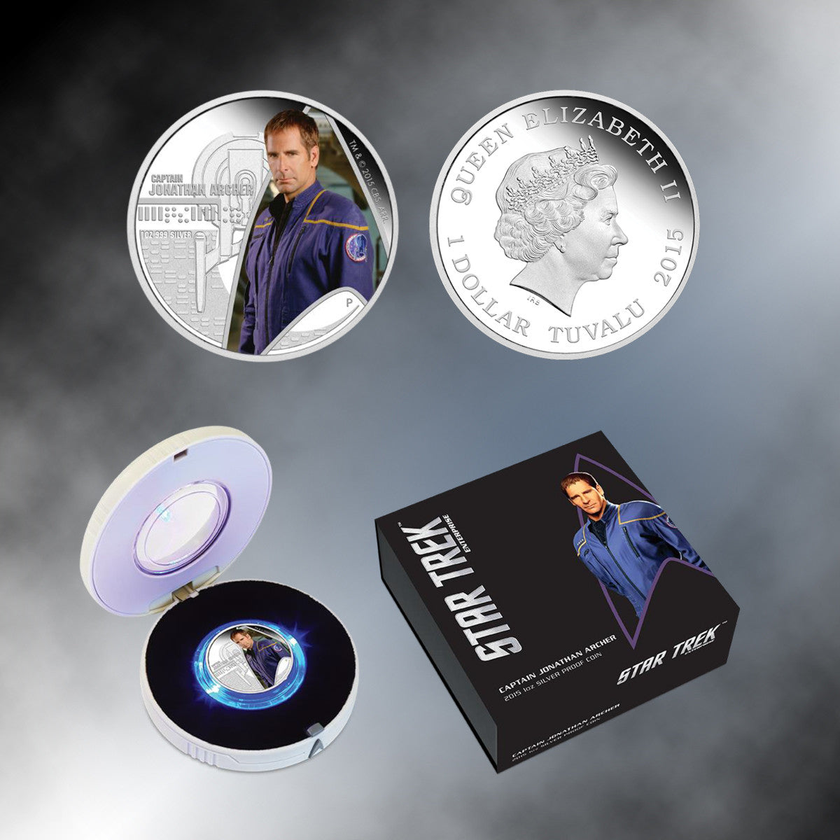 "2015 ""Star Trek: Enterprise"" Capt. Jonathan Archer Silver Proof Coin in Lighted Box"