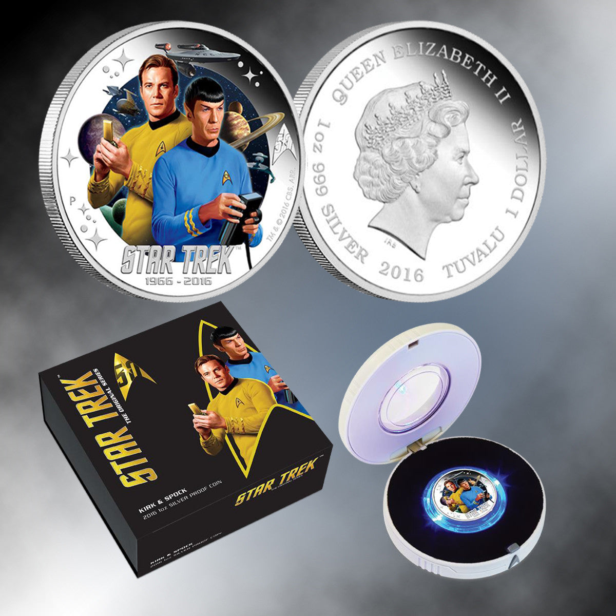 2016 Star Trek 50th Anniversary Captain Kirk /& Mr Spock $1 Silver Proof Coin