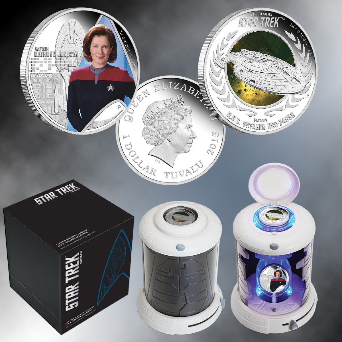 2015 STAR TREK:Captain Janeway and U.S.S. Voyager Colorized Proof Silver Coin Set