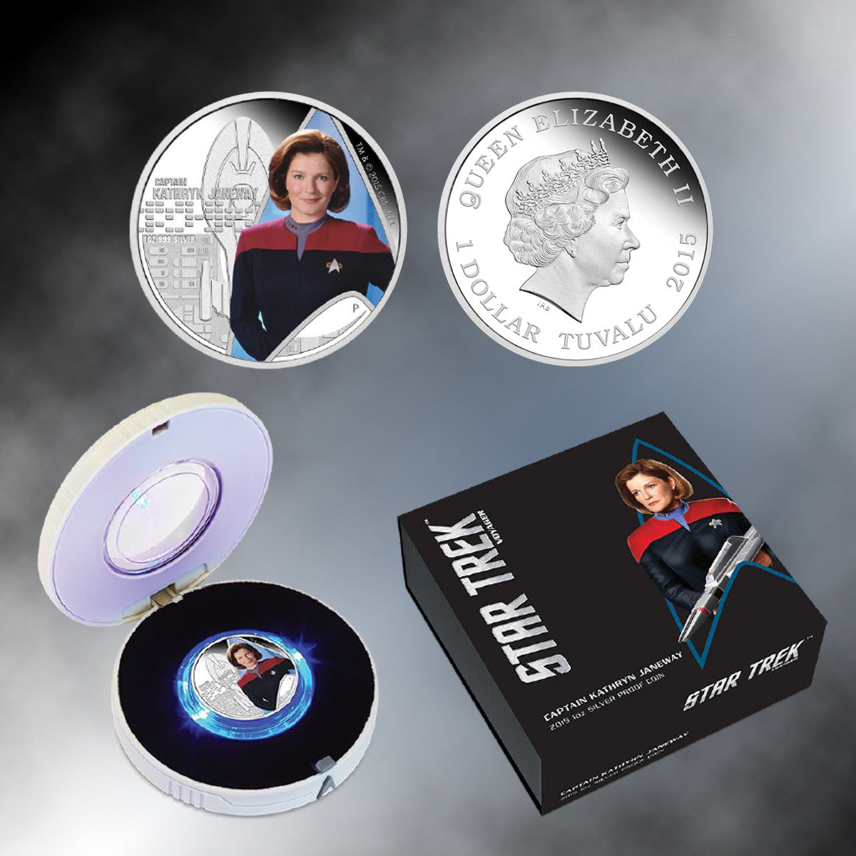 2015 Star Trek: Capt. Kathryn Janeway Colorized Silver Dollar Coin/Lighted Box