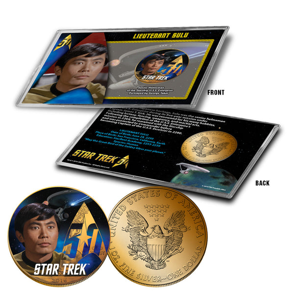 """Star Trek"" Sulu 24K Gold Plated Colorized Silver Eagle"