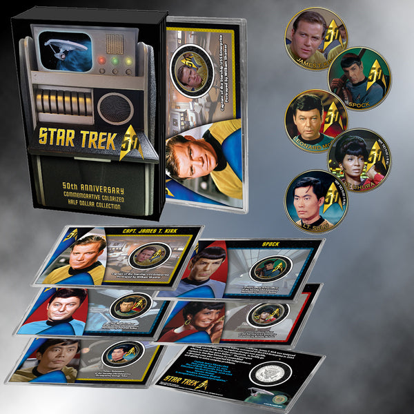 """Star Trek"" 5PC Tricorder Collection - Colorized JFK Half Dollars"
