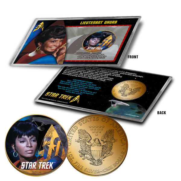 """Star Trek"" Uhura 24K Gold Plated Colorized Silver Eagle"