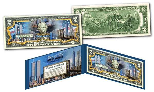 World Trade Center Then and Now Colorized $2 Bill