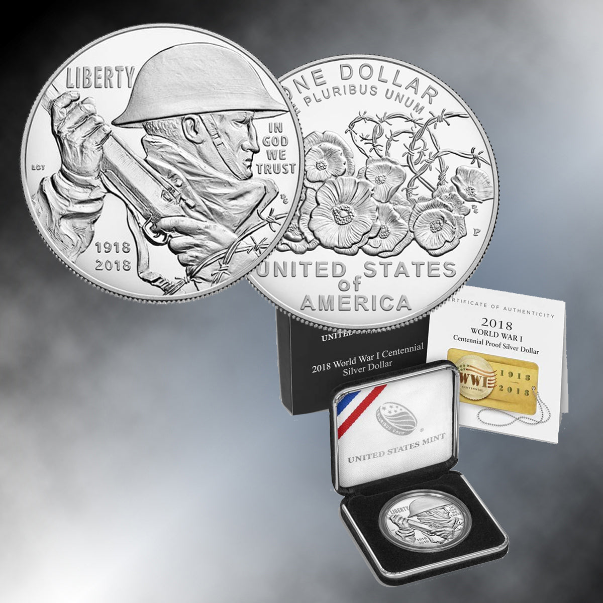 World War I Centennial 2018 Proof Silver Dollar
