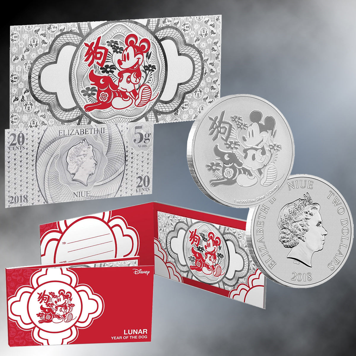 2018 -  Disney® Year of the Dog Niue Silver Coin & Silver Bill