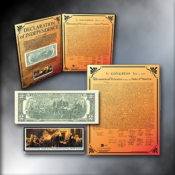 Declaration of Independence 24K Gold Aurum, Set of 4 Stamps and $2 Federal Reserve Note