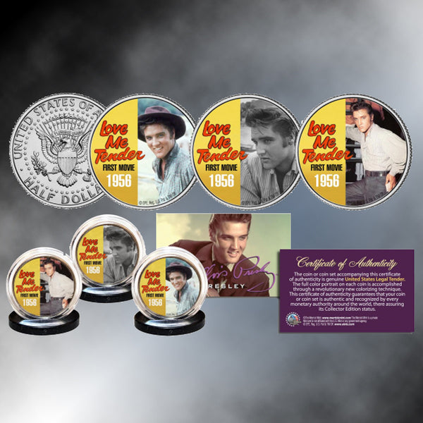 "ELVIS PRESLEY ""Love Me Tender"" Colorized JFK Half Dollars"