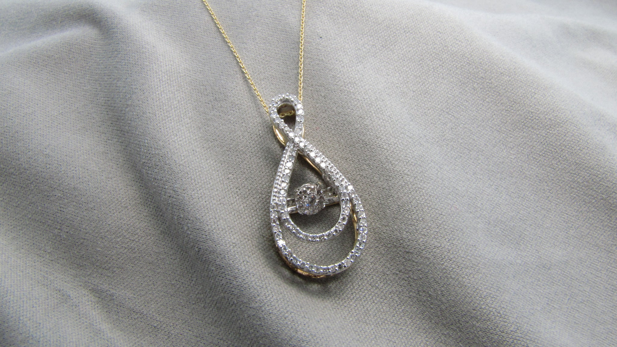 necklace dancing white pendant halo diamond gold mini double