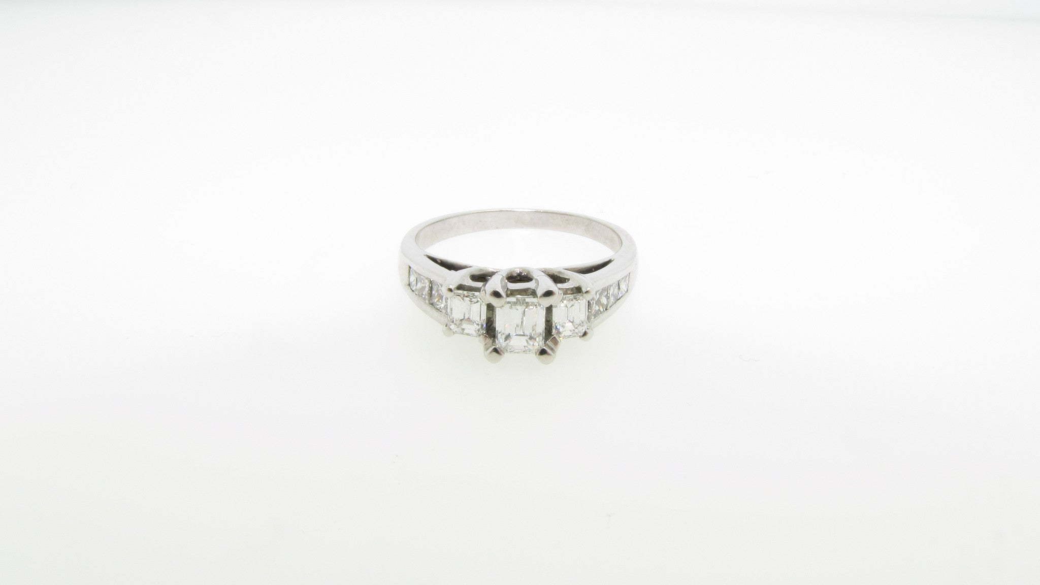 14K White Gold 1.20cttw Emerald Cut Three Stone Diamond Engagement Ring