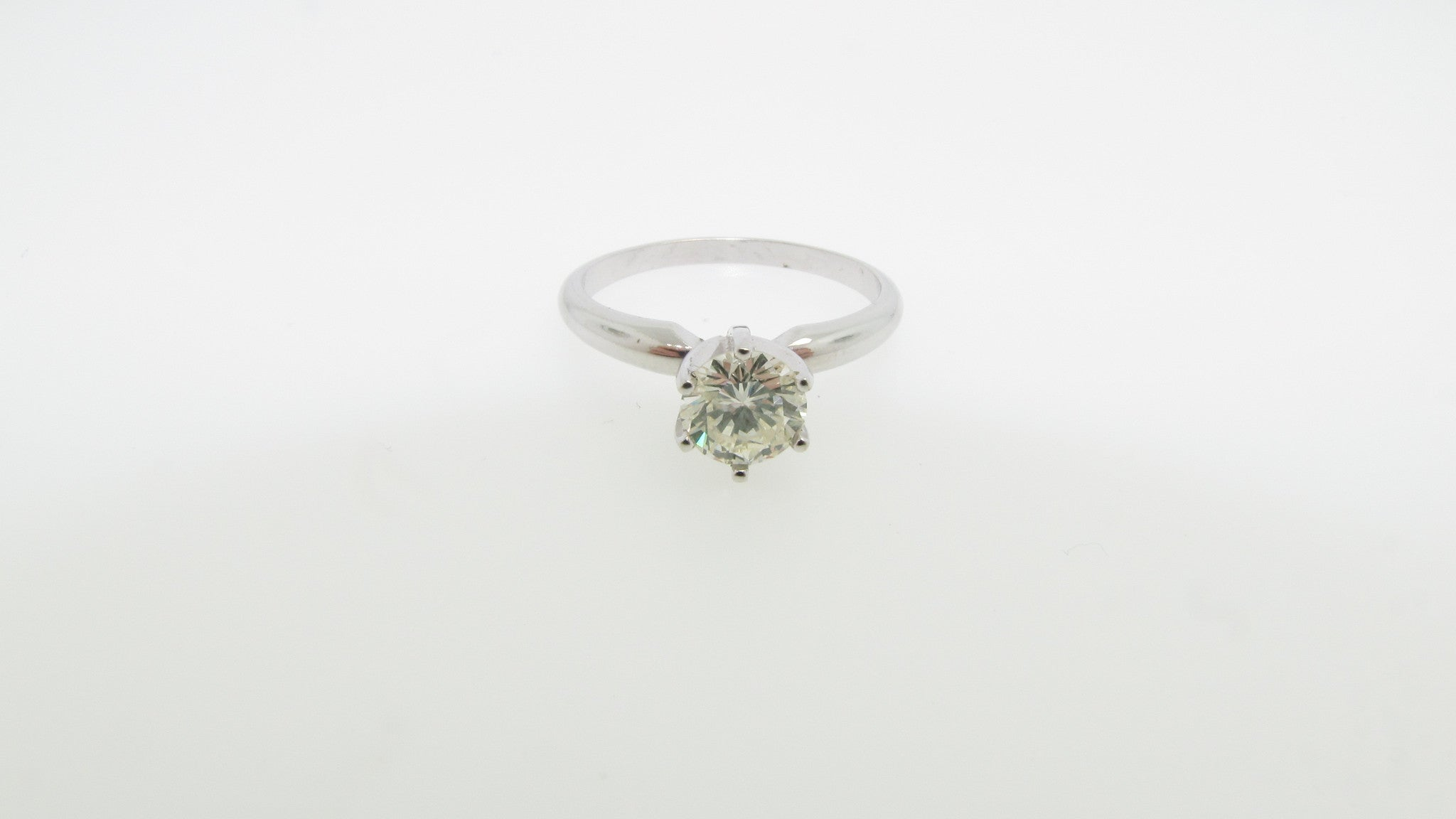 14K White Gold .78ct Round Diamond Solitaire Engagement Ring