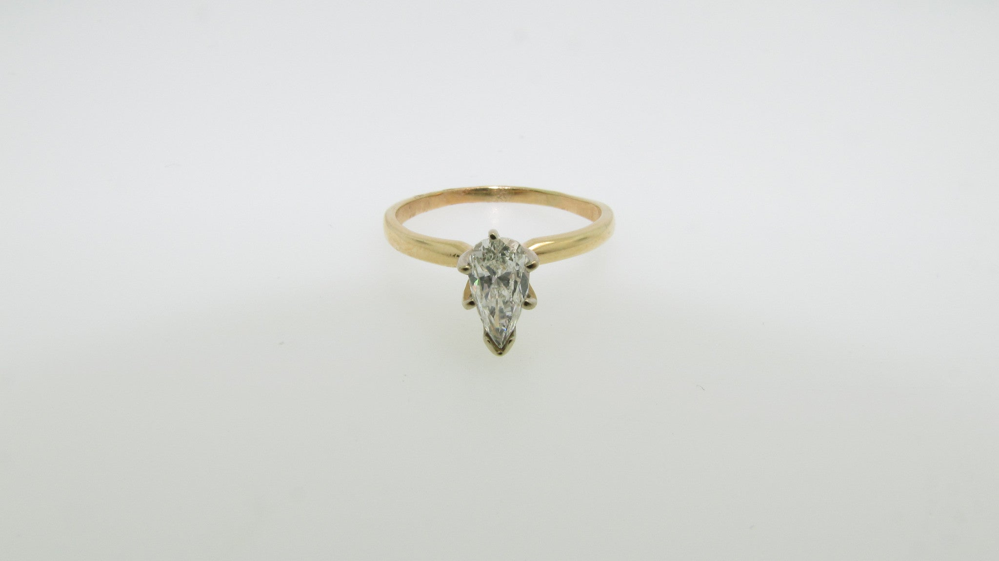 14K Yellow Gold .60ct Pear Diamond Engagement Ring