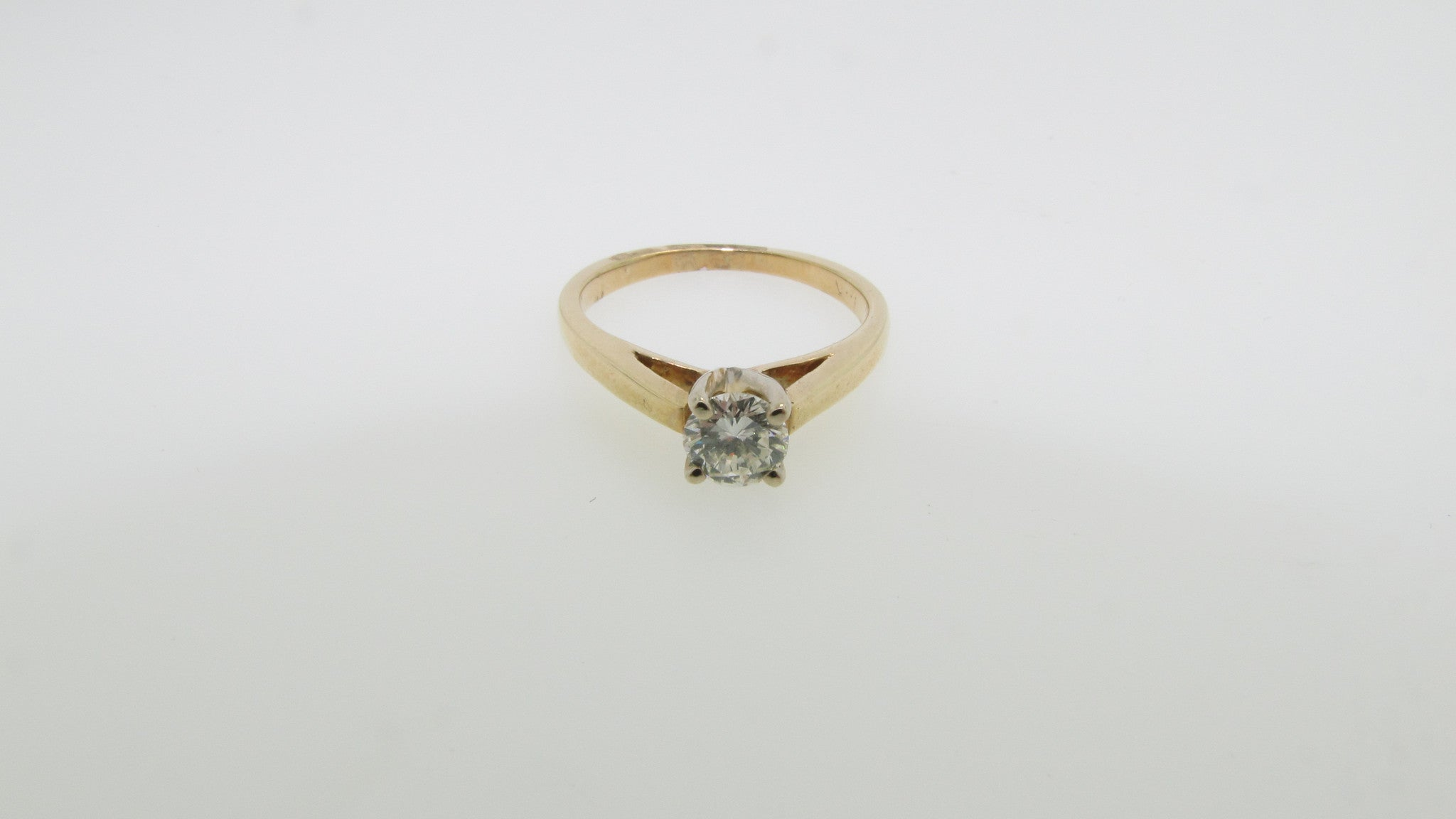 14K Yellow Gold .43ct Round Diamond Solitaire Engagement Ring