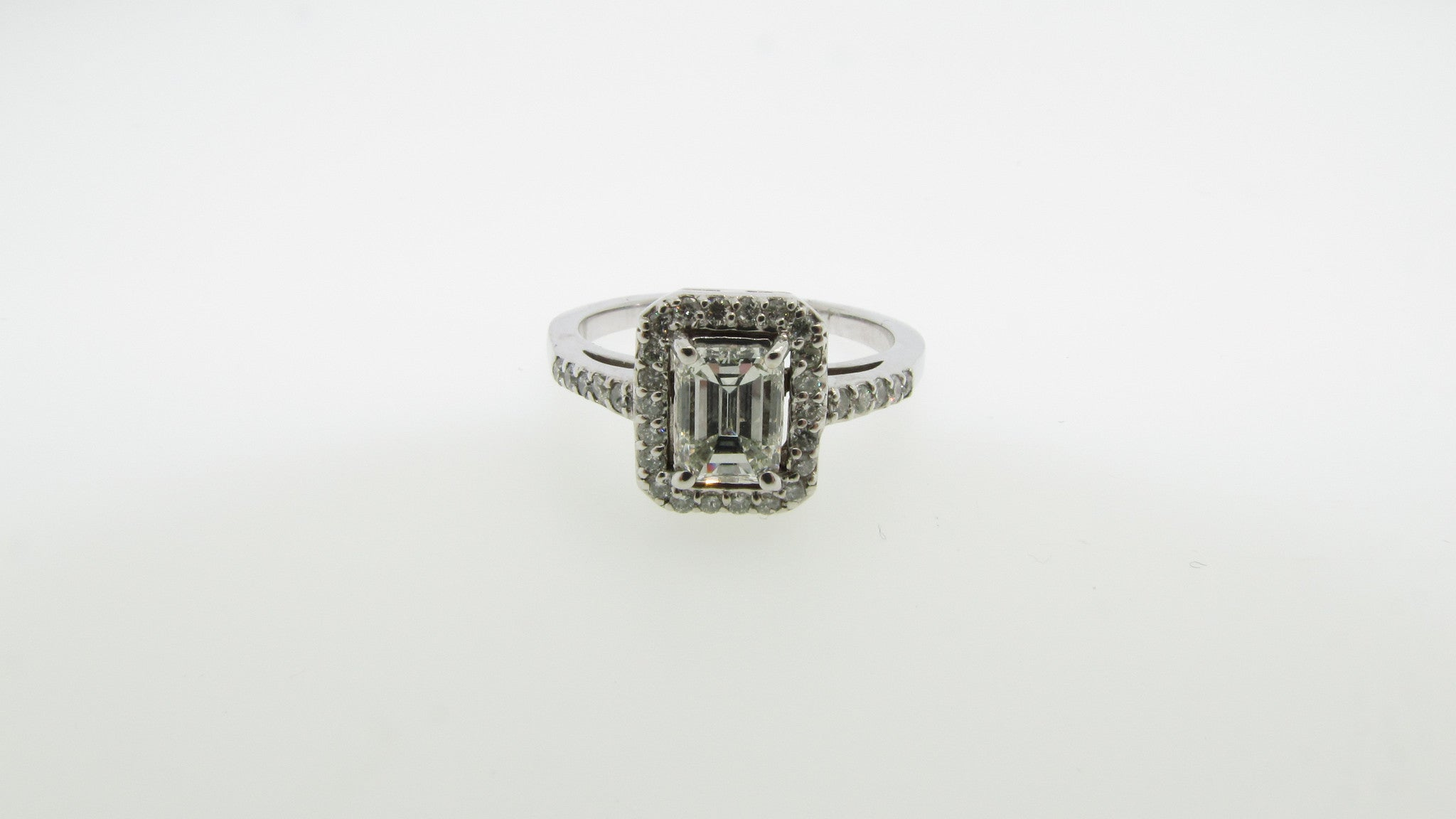 14K White Gold 1.24cttw Emerald Cut Center Diamond Engagement Ring
