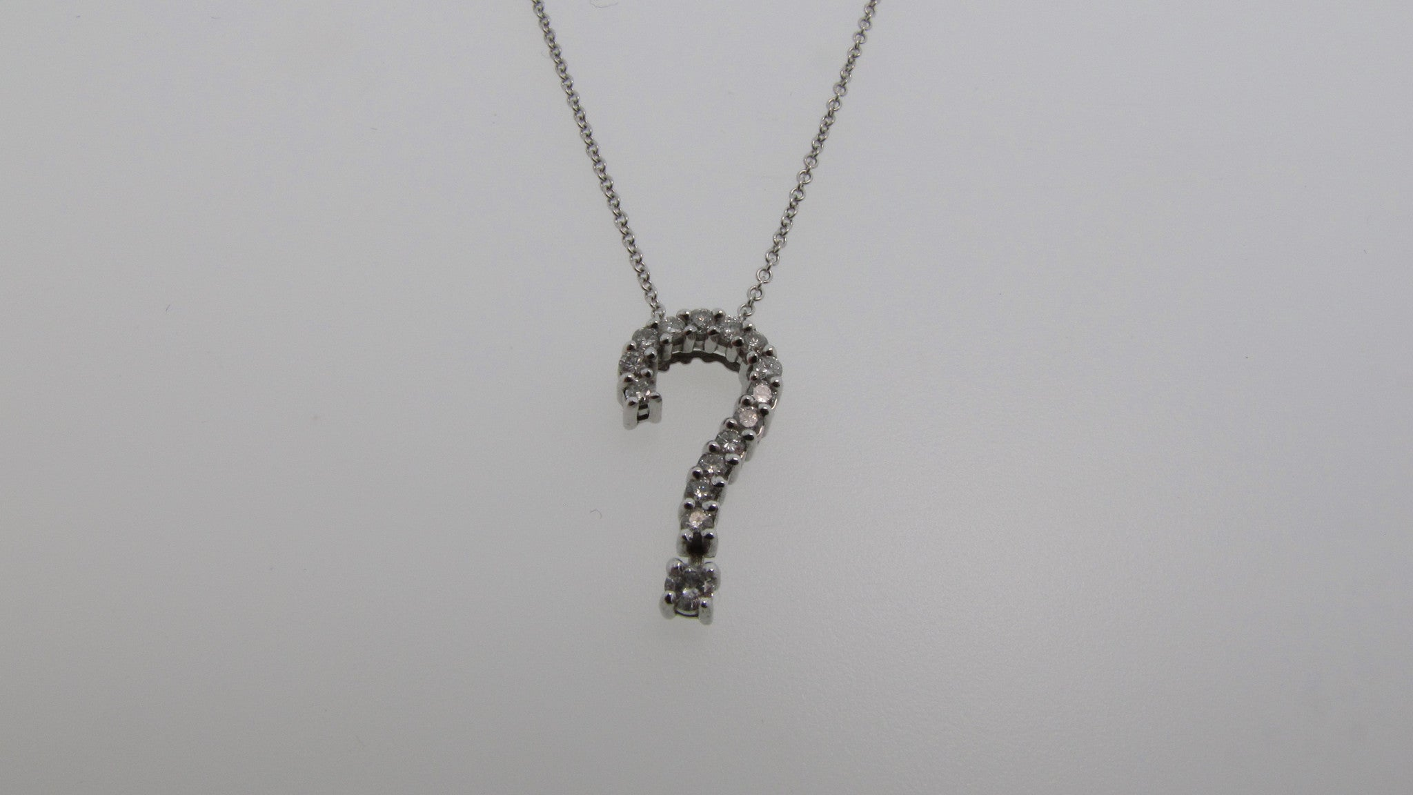 14k white gold diamond question mark necklace jewel tree 14k white gold diamond question mark necklace aloadofball Image collections