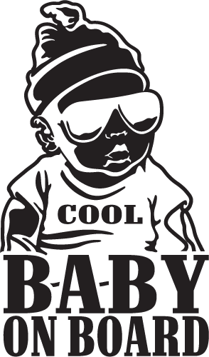 Parts & Accessories Baby On Board Cool Baby With Sunglasses Car Sticker