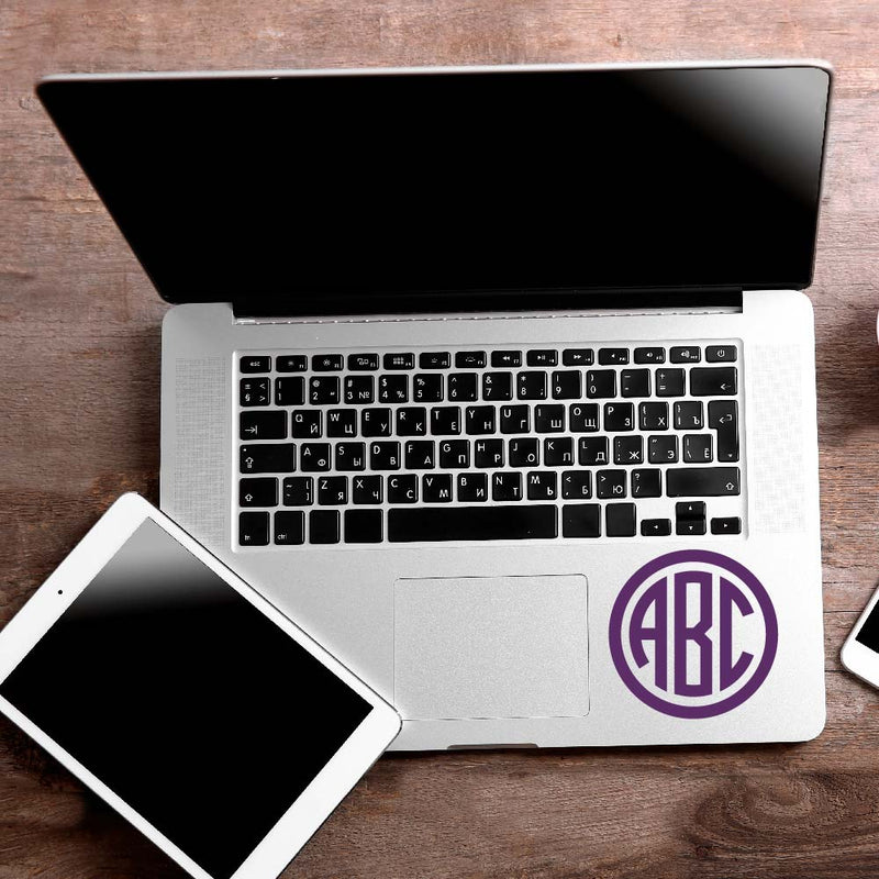 Circle Monogram Decal Sticker for Car Window, Laptop and More. # 1064