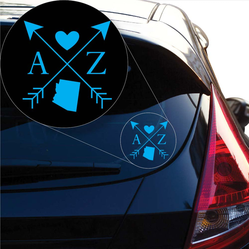 Arizona Love Cross Arrow State AZ Decal Sticker for Car Window, Laptop and More. # 1069