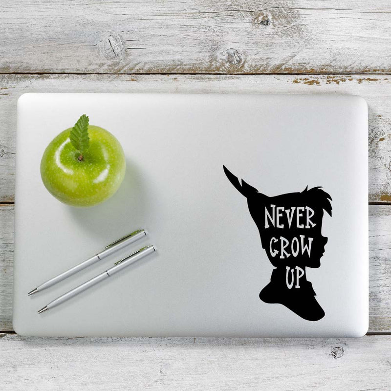 Never Grow Up Peter Pan Decal Sticker for Car Window, Laptop and More. # 1050