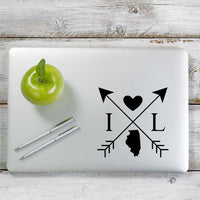 Illinois Love Cross Arrow State IL Decal Sticker for Car Window, Laptop and More. # 1079