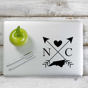 North Carolina Love Cross Arrow State NC Decal Sticker for Car Window, Laptop and More. # 1092