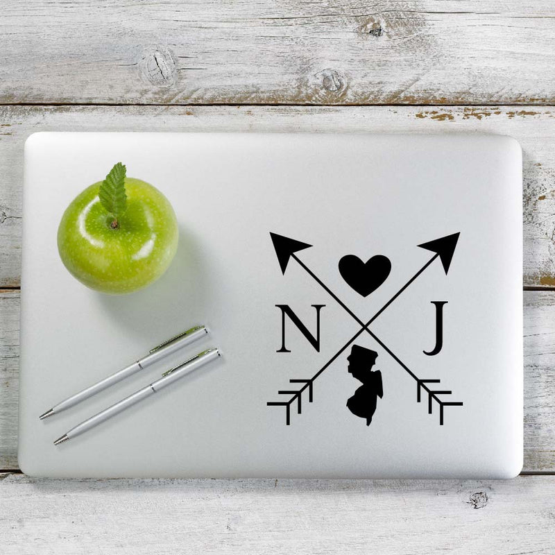 New Jersey Love Cross Arrow State NJ Decal Sticker for Car Window, Laptop and More. # 1096