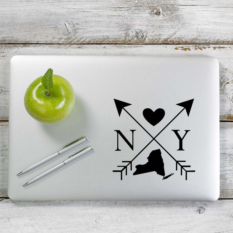 New York Love Cross Arrow State NY Decal Sticker for Car Window, Laptop and More. # 1099