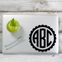 Circle Monogram with border Decal Sticker for Car Window, Laptop and More. # 1151