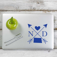 North Dakota Love Cross Arrow State ND Decal Sticker for Car Window, Laptop and More. # 1093
