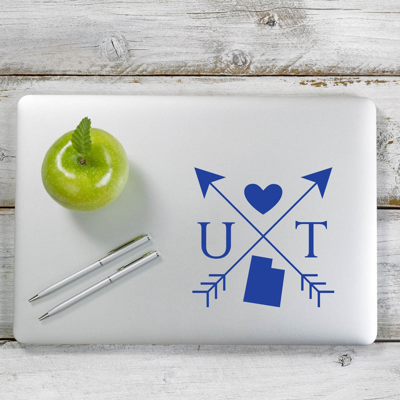 Utah Love Cross Arrow State UT Decal Sticker for Car Window, Laptop and More. # 1109