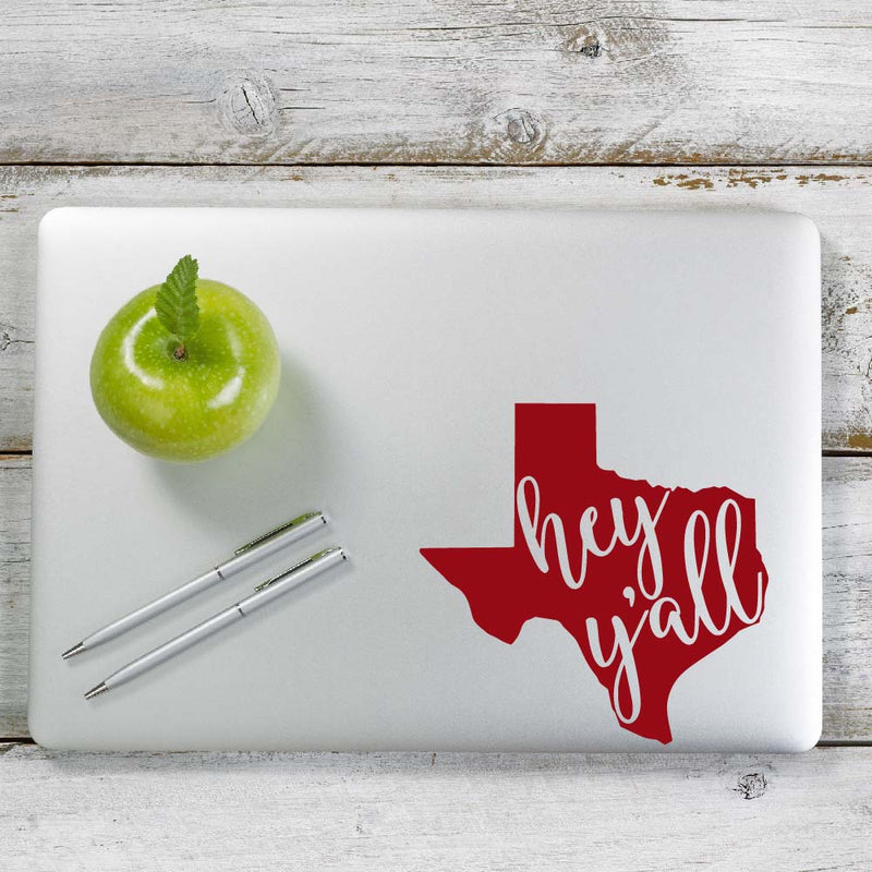 Texas Hey Yall Decal Sticker for Car Window, Laptop and More. # 1060