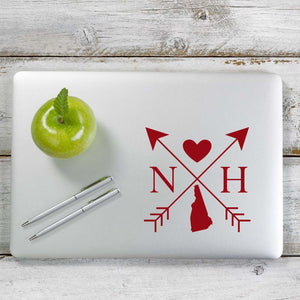 New Hampshire Love Cross Arrow State NH Decal Sticker for Car Window, Laptop and More. # 1095