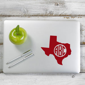 Texas Circle Monogram Decal Sticker for Car Window, Laptop and More. # 1127