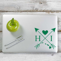 Hawaii Love Cross Arrow State HI Decal Sticker for Car Window, Laptop and More. # 1076