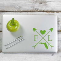Florida Love Cross Arrow State FL Decal Sticker for Car Window, Laptop and More. # 1074
